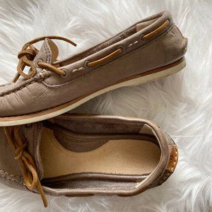 FRYE Women's Brown Leather Quincy Tie Boat Shoe 6M